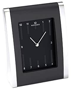 Desk Clock by Movado Black Matte Elyptical Dial with Engraving Plate TSI-177M