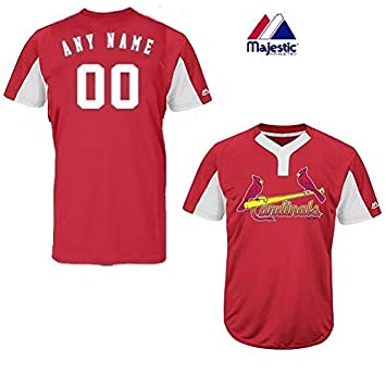 separation shoes de9fb e6612 Majestic 2-Button Cool-Base St. Louis Cardinals 2-Color Red/White Blank or  Custom Back (Name/#) MLB Officially Licensed Baseball Placket Jersey