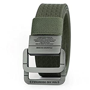 Also Easy Military Equipment Tactical Belt Man Double Ring Buckle Thicken Canvas Belts for Men Waistband MU035 Green 120cm