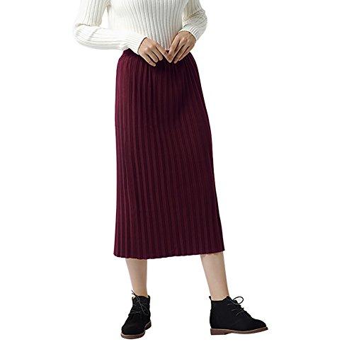 Mena Para Mujeres Otoño Vino Invierno Rodilla Faldas Sólido Hasta La diarias Ocasionales Plisado Lápiz Rojo rwXSrqI