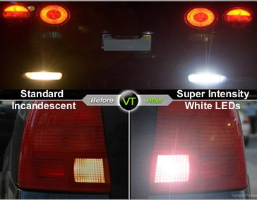 Mercedes Benz W124 E-Class 86 87 88 89 90 91 92 93 94 95 LED Tail Lights + Hi-Power White LED Backup Lights - Red Clear (Pair)