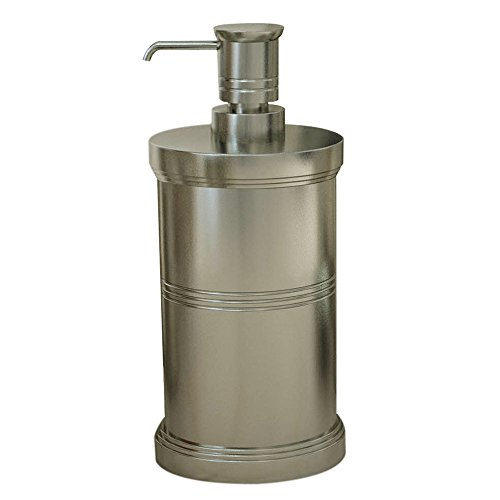 nu steel DR6H Dual Ridge Collection Liquid Soap & Lotion Dispenser Pump for Bathroom or Kitchen Countertops, Brushed Pewter Finish ()