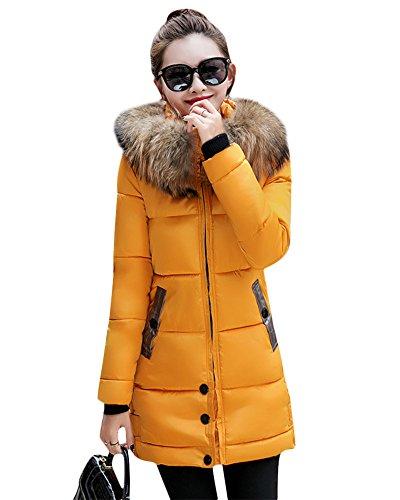 Miugee Larga amarillo Abrigo Manga para mujer qvgqCx