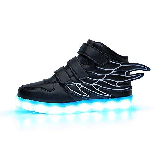 iTURBOS Super Pegasus Unisex Women Men Kids USB Charging LED Light Up Shoes Fashion Sneakers White 36