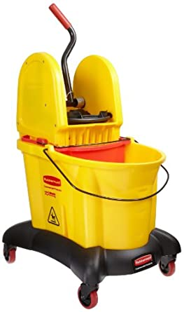 Rubbermaid Commercial FG767700YEL 35-Quart Capacity WaveBrake Dual Water Down Press Combo with Downward Pressure Wringer, Yellow