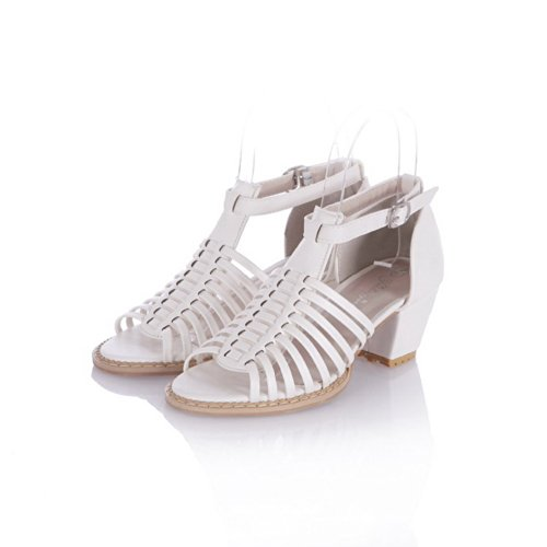 VogueZone009 Girls Open Toe Kitten Heel Chunky Heels PU Soft Material Solid Sandals with Buckle, White, 4.5 UK