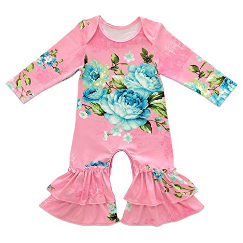 Toddler Little Girls Baby Christmas Romper Icing Ruffle Bottoms Long Sleeve Jumpsuit Playwear Pants Floral Printed Pajamas Nightwear Homewear Summer Fall Birthday Outfits Party Clothes Pink 0-3M -