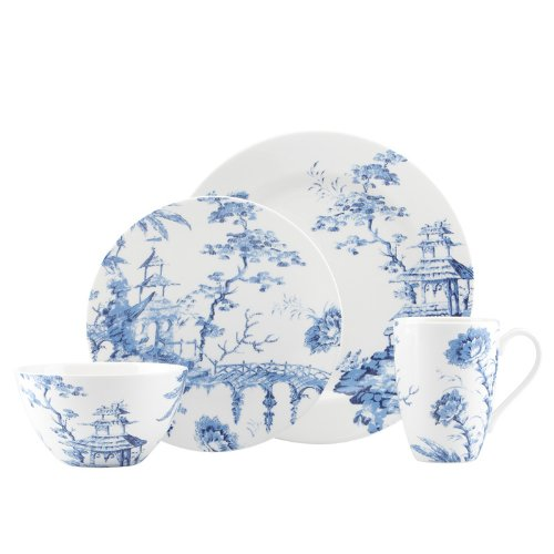 Scalamandre Toile Tale Sky Blue 4-piece Dinnerware Place Setting by -