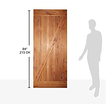 36x84 inches DIY Natural Knotty Alder Shiny Interior Sliding Barn Door Slab,Intermediate