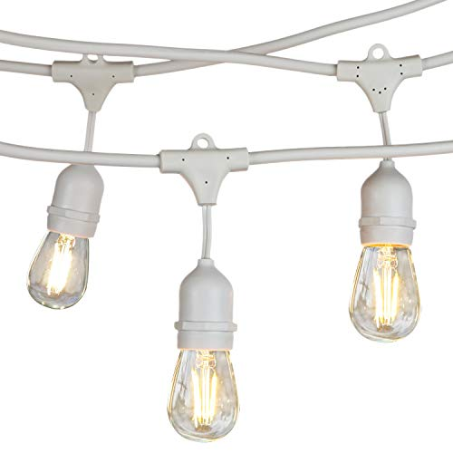 White Outdoor String Lights - Brightech Ambience Pro LED Commercial Grade Waterproof Outdoor String Lights -Weatherproof Hanging Edison Vintage Filament Bulbs/Patio Lighting- Dimmable 2W 48 Ft Cafe Bistro Lights -WHT