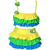 Girls Cute Ruffled Tankinis Bathing Suit Two-Piece Kid Rainbow Bikini Swimsuits