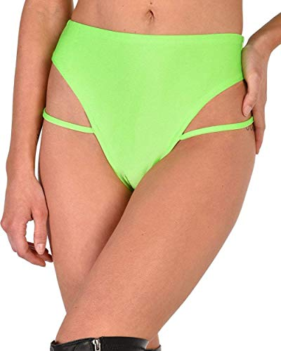 iHeartRaves Slime Time Strappy High Cut Bottoms (Neon Green, Large)