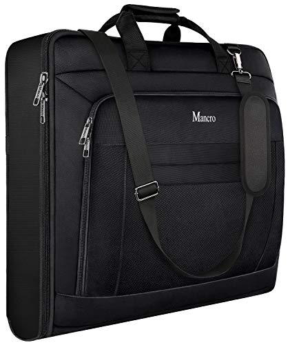 Carry On Garment Bag, Garment Bags for Travel Business Trips with Shoulder Strap, Mancro Waterproof Foldable Luggage Suit Bags for Men Women, 2 in 1 Hanging Suitcase for Dresses, Suits, Coats (Black)