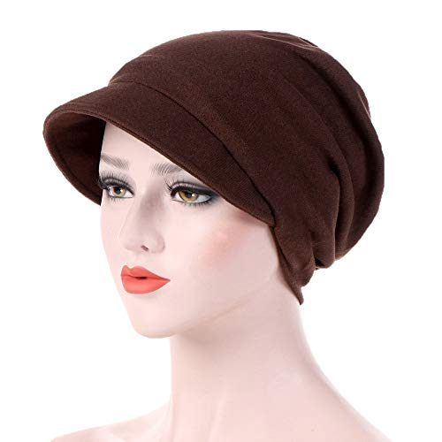 Women's Turban Cotton Beanie Visor Cap Baggy Chemo Hats Hexagon Head Cap Solid Color Warm Windproof Cap