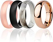 ROQ Classic 6mm Tungsten Carbide Wedding Band Ring for Women & 3 Silicone Rings for Work/Sport/Hiking – Do