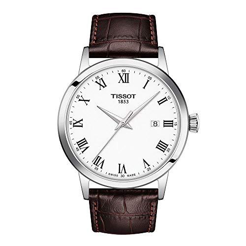 Reloj de vestir Tissot Classic Dream de acero inoxidable para hombre, marrón T1294101601300