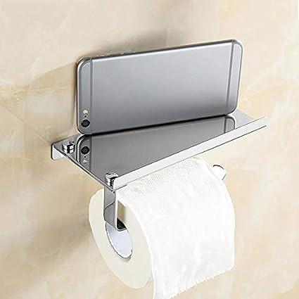 Argent Fablcrew 1Pcs Porte-Papier Toilette Mural avec Etag/ère de Rangement en Acier Inoxydable D/érouleur Papier WC avec Support de T/él/éphone pour Salle de Bain