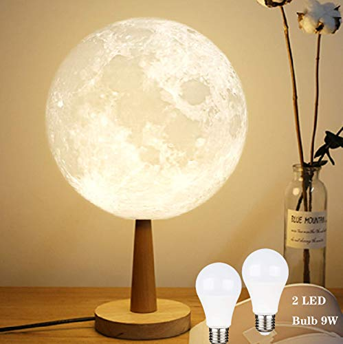 ZgmdaHOME 9 Inch Moon Lamp, 3D Printed Moon Night Table Lamp, Moon Nightstand Lamp with 9W LED Bulb(1 Yellow Bulb and 1 White - Glass 9w