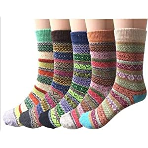 5-6 Pairs Womens Wool Socks Vintage Soft Cabin Warm Socks Thick Knit Cozy Winter Socks for Women Gifts