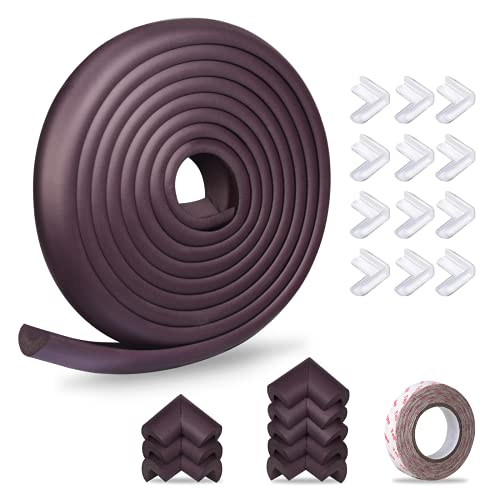 Baby Proofing Edge Corner Protector 16.4 ft Edge + 20 Corners, Momcozy Table Bumper Guard, Soft Rubber Foam Guard Pre-Taped Baby Safety Corners Cushion,Heavy-Duty, Brown