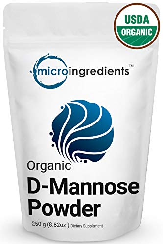 Organic D-Mannose Powder, 8.8 Ounce, 250 Grams, Maximum Strength to Powerfully Support Urinary Tract Cleanse and Bladder Health for Both Men and Women, No GMOs and Vegan Friendly