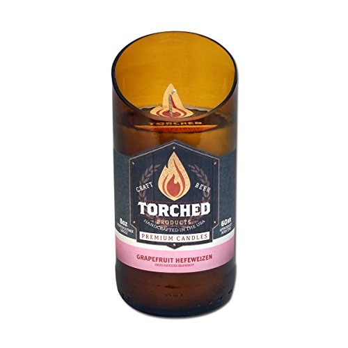 Torched Beer Bottle Candles - 60 Hour Burn Time - 8 Ounce Beer Candle (Grapefruit Hefeweizen)