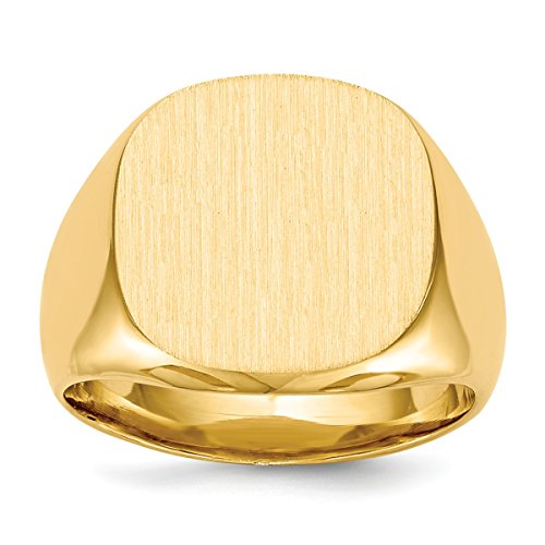 - Roy Rose Jewelry 14K Yellow Gold Mens Solid Back Rounded-Square Signet Ring FREE Custom Personalized Engraving with 3 Letter Monogram