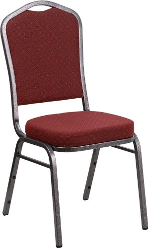 Emma + Oliver Crown Back Banquet Chair Burgundy Pattern Fabric/Silver Vein Frame ()