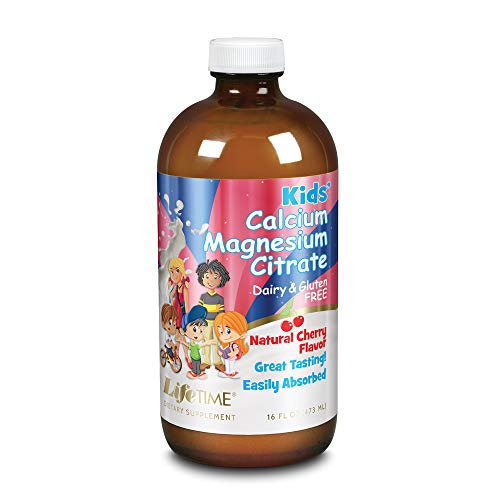 Lifetime Kids Calcium Magnesium Citrate | Support Bone, Muscle & Teeth Health | Easy Absorption, Dairy & Gluten Free | Cherry Flavor | 16 FL oz
