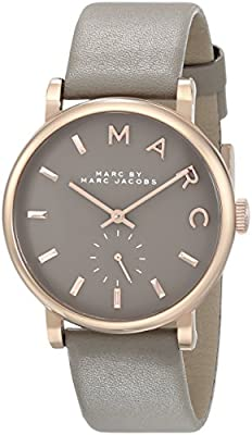 Marc by Marc Jacobs Women's MBM1266 Baker Rose-Tone Stainless Steel Watch with Grey Leather Band