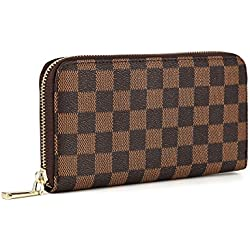 Daisy Rose Women's Checkered Zip Around Wallet and Phone Clutch - RFID Blocking with Card Holder Organizer -PU Vegan Leather, Brown