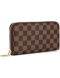 Women's Checkered Zip Around Wallet and Phone Clutch -...