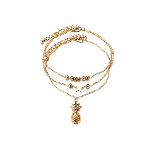 Pine Ankle Chain Pendant Anklet Beaded Summer Beach Foot Jewelry Fashion Style Anklets For Women Foot Chain,Rhodium Plated