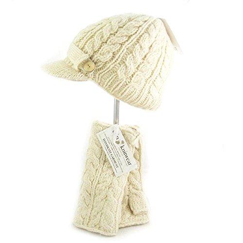Traditional Aran Knit White Handwarmer by Irish Erin Knitwear by The Irish Store - Irish Gifts from Ireland