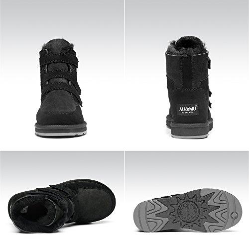 AU&MU Aumu Womens Mid Calf Snow Boots Short Winter Boots Black 2 bY9kM65