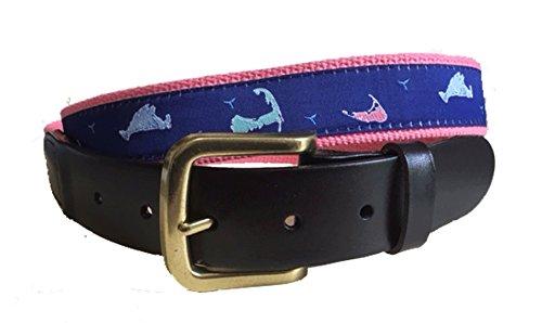 No27 Mens Nantucket, Cape Cod, Martha's Vineyard Nautical Leather Belt, Leather Tab and Buckle, Nautical Island Leather Belt ()