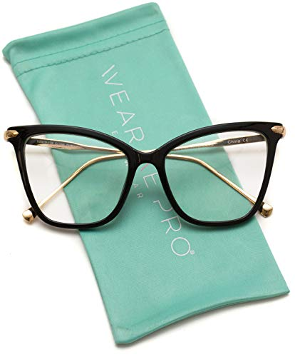 WearMe Pro - New Elegant Oversized Clear Cat Eye Non-Prescription Glasses -