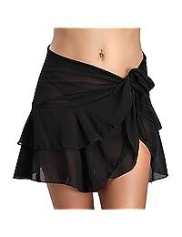 Alamana - Falda de Playa de Gasa para Mujer, Sexy, Color sólido, a Prueba de Fugas, Negro, 1