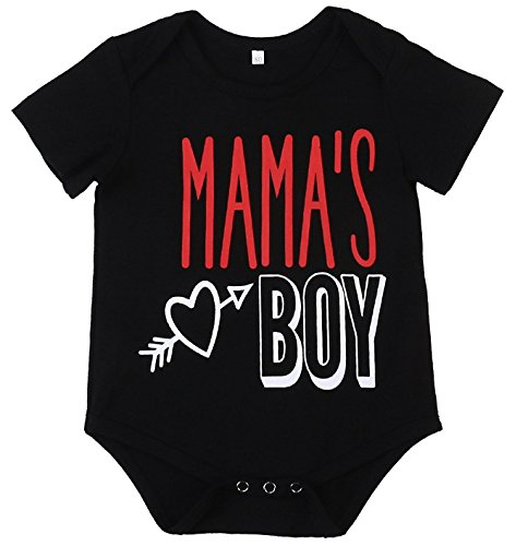 - SWNONE Baby Boy Clothes Newborn Infant Letter Printed Short Sleeve Romper Bodysuit Jumpsuit Outfit Black (Black, 6-12 Months)