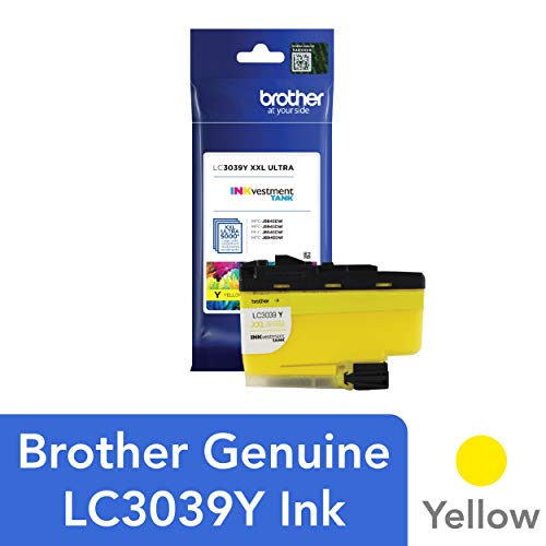 Brother Genuine LC3039Y, Single Pack Ultra High-Yield Yellow INKvestment Tank Ink Cartridge, Page Yield Up to 5,000 Pages, LC3039, Amazon Dash Replenishment Cartridge