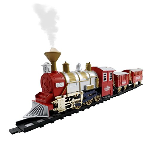 Classic Train Set for Kids with Smoke, Realistic Sounds, 3 Cars and 11 Feet of Tracks (13 pcs) colors may vary (Train Set Under Christmas Tree)