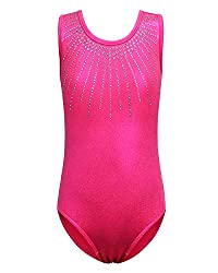 Hot Pink Sleeveless Dance Outfit With Rhinestones