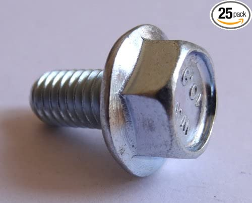 25 PCS 304 M6-1.0 x 12//16//20//25//30mm Flanged Hex Head Bolts Flange Hexagon Screws Stainless Steel 18-8