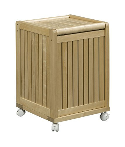 New Ridge Home Goods Abingdon Solid Birch Wood Mobile Hamper with Lid, Blonde - Solid Birch hardwood designed to last Available in your choice of high-grade richly colored Sherwin-Williams water resistant finishes. Crafted for Universal appeal. - laundry-room, hampers-baskets, entryway-laundry-room - 41IbdjAoDwL -