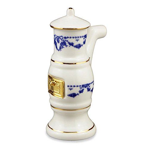 Dollhouse Miniature Blue Rose Bathroom Stove by Reutter Porcelain (Rose Porcelain Stove)
