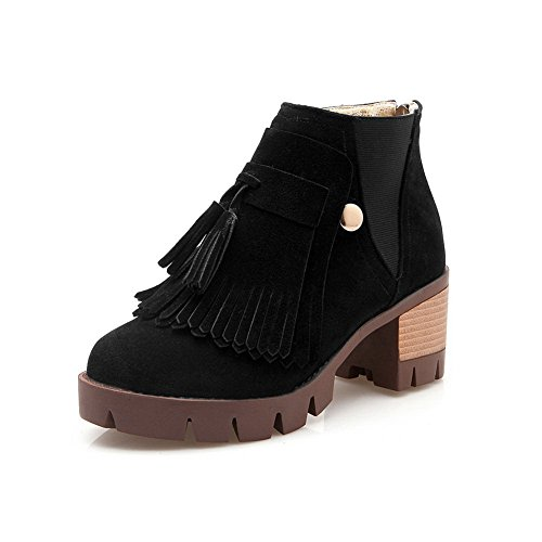 Black Imitated Ornamented Chunky Suede AdeeSu Girls Cow Boots Tassels Heels wzxYIq