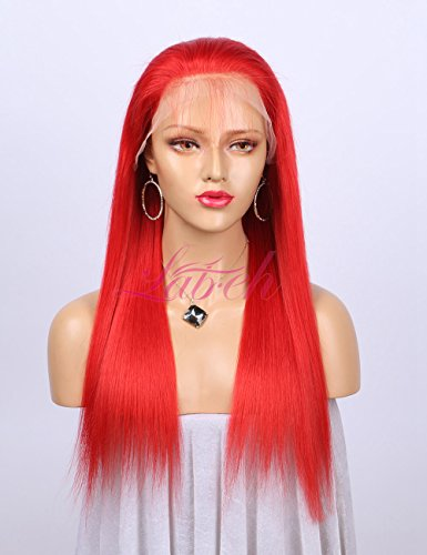 Lab Hair Red Lace Front Human Hair Wigs 14-24inch 150% Density Fashion Women's Long Straight Glueless Full Lace Wigs With Baby Hair on Sale(14inch,Lace Front Wig) (Pre Friday Sale Black)