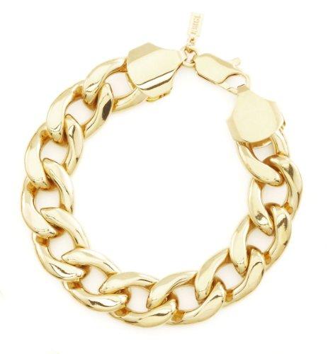 Men's Yellow Gold Tone 13mm Cuban Curb Chain Link Bracelet