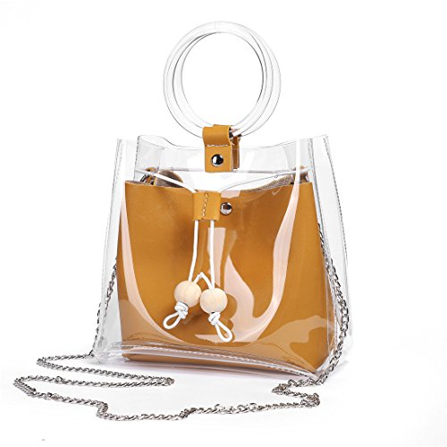 FANCY LOVE Classy impermeabile trasparente secchio Tote Beach Shoulder Crossbody Bag Brown