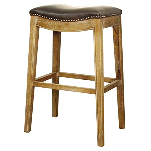 - New Pacific Direct Elmo Bonded Leather Bar Stool,Weathered Smoke Legs,Vintage Dark Brown,Fully Assembled